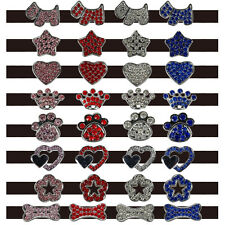 10mm Bling Rhinestone Pet Dog Collar Charms Letters Crown Bone Paw Crown