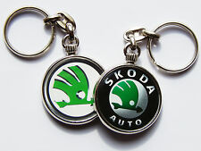 SKODA Car Badge Emblem Quality Chrome Keyring Choose Your Design! Both Sides!