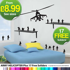 NEW ARMY HELICOPTER KIDS WALL STICKERS DECALS DIY WALL ART STICKER 17 FREE MEN