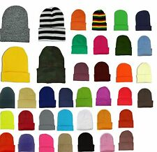 Beanie Cuff Blank Plain Ski Knit Cap Skull Beany 23 Different Colors Neon New