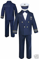 Infant Toddler Boys Wedding Formal Sailor Suits Hat Sets Outfits Navy 0M- 7Years