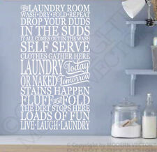 THE LAUNDRY ROOM Vinyl Wall Decal Letters Laundry Room Subway Style WASH DRY