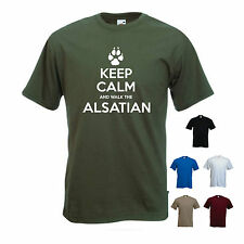 'Keep Calm and Walk the Alsatian' Mens funny Pet Dog Gift T-shirt.
