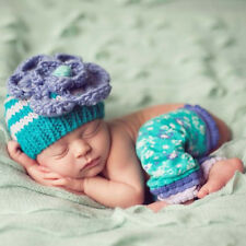 Lilac Bloom Baby Girl Hat - Handmade Crochet Beanie in Blue and White