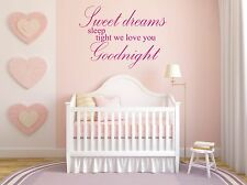 wall art quote mural decal sticker kids 4 sweet dreams sleep tight we love you