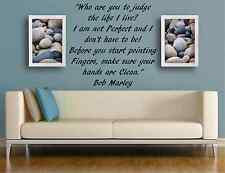 "Bob Marley Quote ""Who are you to Judge"" STICKER DECAL QUOTE MURAL ART BEDROOM"