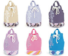 Canvas Beach Bag Duffle Style. Drawstring Top, Large, Round, Holiday, Ladies