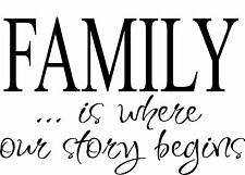 FAMILY is where our story vinyl wall decal quote sticker decor Inspirational