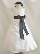 CO8 NEW IVORY BLACK BRIDESMAID EASTER PARTY FLOWER GIRL DRESS 1 2 4 6 8 10 12 14