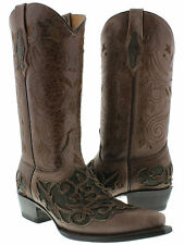 Women's cowboy boots ladies leather floral engraved western biker rodeo new