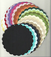 "Cardstock SCALLOP CIRCLE 5 1/4"" Die Cut PICK YOUR COLOR and QUANTITY Mix N Match"