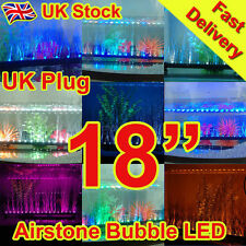 "18"" Aquarium Fish Tank Airstone Bubble LED Light Blue White Purple Yellow Multi"