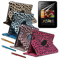 "AMAZON Kindle Fire HD 7"" Leopard Case COVER W/ Stand + SCREEN PROTECTOR + STYLUS"