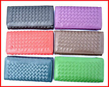 Handmade knit PU leather classical Long Ladies Zipper Purse Woman Clutch Wallet