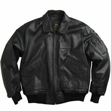 Alpha Industries CWU 45/P Leather Flight Jacket - Black, Brown