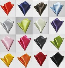 Fashion Mens Wedding Solid Polyester Color Plain Satin Soft Hankerchief Hanky