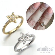 Swarovski Crystal Twinkle Star Over The Midi Tip Finger Above The Knuckle Ring