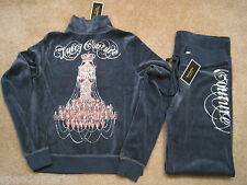 NWT Juicy Couture Peacock Blue Chandelier Velour Jacket Pants Tracksuit S $246