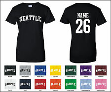 City of Seattle Custom Personalized Name & Number Woman's T-shirt