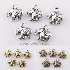 30spcs Tibetan silver Thailand Elephant Charm Pendant Findings 12*12mm