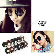 High Quality Fashion Unisex Retro Style Round Silver Metal Frame Sunglasses