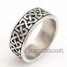 Men's 8MM Celtic Knot Stainless Steel Band Ring US Size 8,9,10,11,12