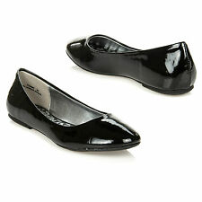 New Women's Patent Round Toe Ballerina Ballet Flats DOLLHOUSE YUMMY BLACK