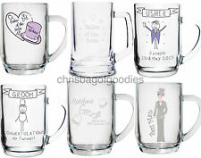 PERSONALISED Glass BEER TANKARD Thank you Gift For WEDDING Day Party KEEPSAKE