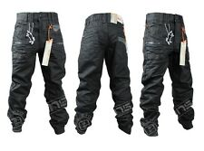 NEW KIDS BOYS ETO EB267 DESIGNER CUFFED BLACK-COATED DENIM JEANS SIZES 24-29