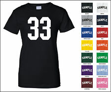 Number 33 Thirty Three Sports Number Woman's Jersey T-shirt Front Print