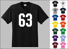 Number 63 Sixty Three Sports Number Youth Jersey T-shirt Front Print