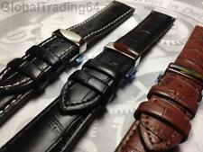 LUXURY 20mm CROCODILE GRAIN LEATHER WATCH STRAP WITH DEPLOYMENT CLASP for SEIKO