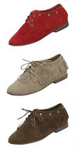 New Womens Taupe Lace Up Studded Fringe Moccasin Oxford Round Toe Size: 5-10