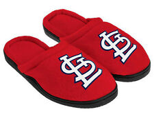 St. Louis Cardinals Slippers Black Rubber Sole Mens Team Logo NWT