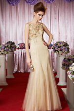 Gold 1920s Drop waist Lace&Tulle Beaded Open Back Evening Dress, size 6 -14