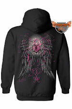 WOMEN'S ZIP UP HOODIE Heart Shaped Lock with Pink Rose ANGEL WINGS S-2X 3X 4X 5X