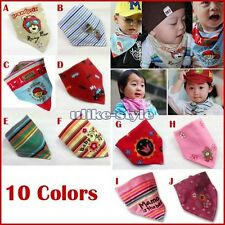 1x Baby Stay Dry Dribble Bandana Bibs Triangle Head Scarf for Boy Girl 10 Colors