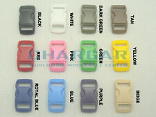 """50pcs 3/8"""" Webbing Contoured Curved Buckles for 550 Paracord Bracelets Colored"""