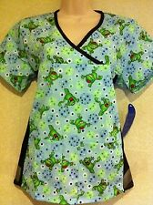 """BRAND NEW """"LEAPING FROG""""  SCRUB TOP WITH SPANDEX. XS,S,M,L ( SEE MEASUREMENT )"""