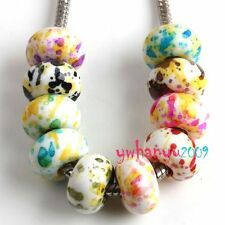 Free ship 100x Round Mixed Dot Style Acrylic Charms Beads Fit European Bracelets