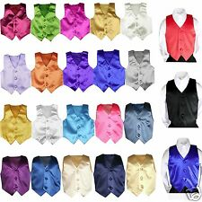 23 color Satin Vest only Boys Teens Men Formal Party Graduation Tuxedo Suit S-7