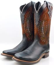Lucchese MR4055 Mens Black Oiled Leather Western Cowboy Boots With Rubber Sole