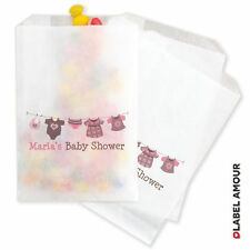 10 x PERSONALISED Washing Line Baby Shower Party Favour Glassine Bag - Otton