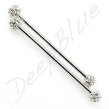 Steel Industrial SCAFFOLD BARBELL with Resin Coated SMOOTH CRYSTAL Balls 1.6mm