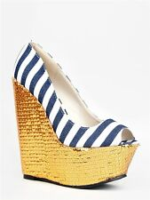 NEW RED KISS Women Stripe Peep Toe Sequin Wedge Pumps Blue sz Navy Gold Michael