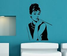 Wandtattoo Audrey Hepburn, Aufkleber Film Legende, VIP Movie Star Sticker, 1T309