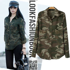 Army Rock Camouflage Gold Studs Studded Button Long Shirt Jacket Military