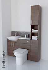 GREY BROWN BATHROOM FITTED FURNITURE 1400MM TALL BOY