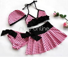 Polka Dots Girls Swimwear Swimsuit Bikini Swimming Costume 4PC Set SZ 3-10 Years