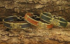 4 Strands of Hand Crafted Artisan Leather Bracelets: 6 colors, silver/gold trim